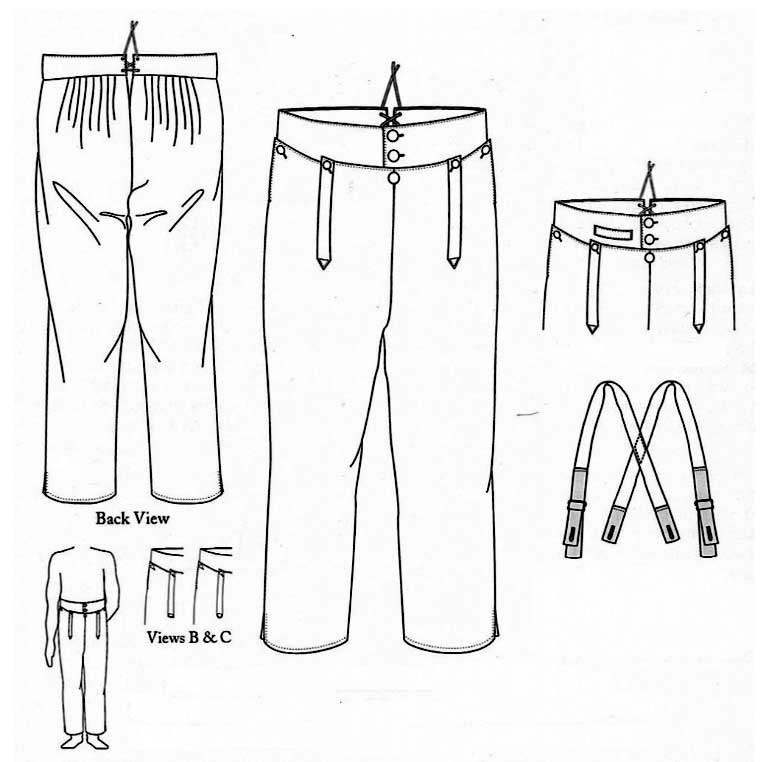 Man's Regency High-Waisted Trousers, Sizes 42-52