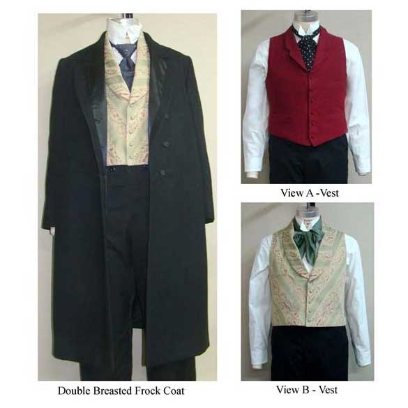 Single & Double Breasted Frock Coats with Two Vests 1850-1915