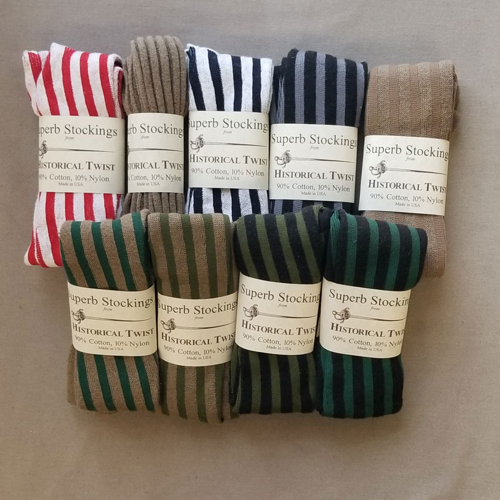 90% Cotton, Vertical Striped Stockings