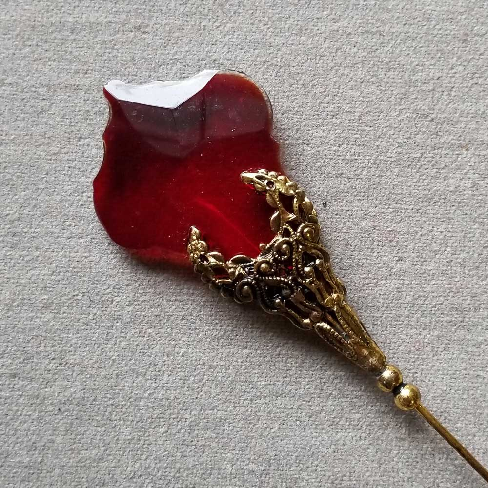 Hat Pin, Large Ruby Crystal