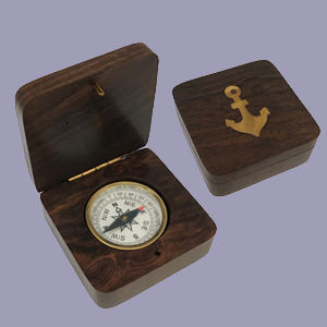 Compass in Box with Inlaid Brass Anchor
