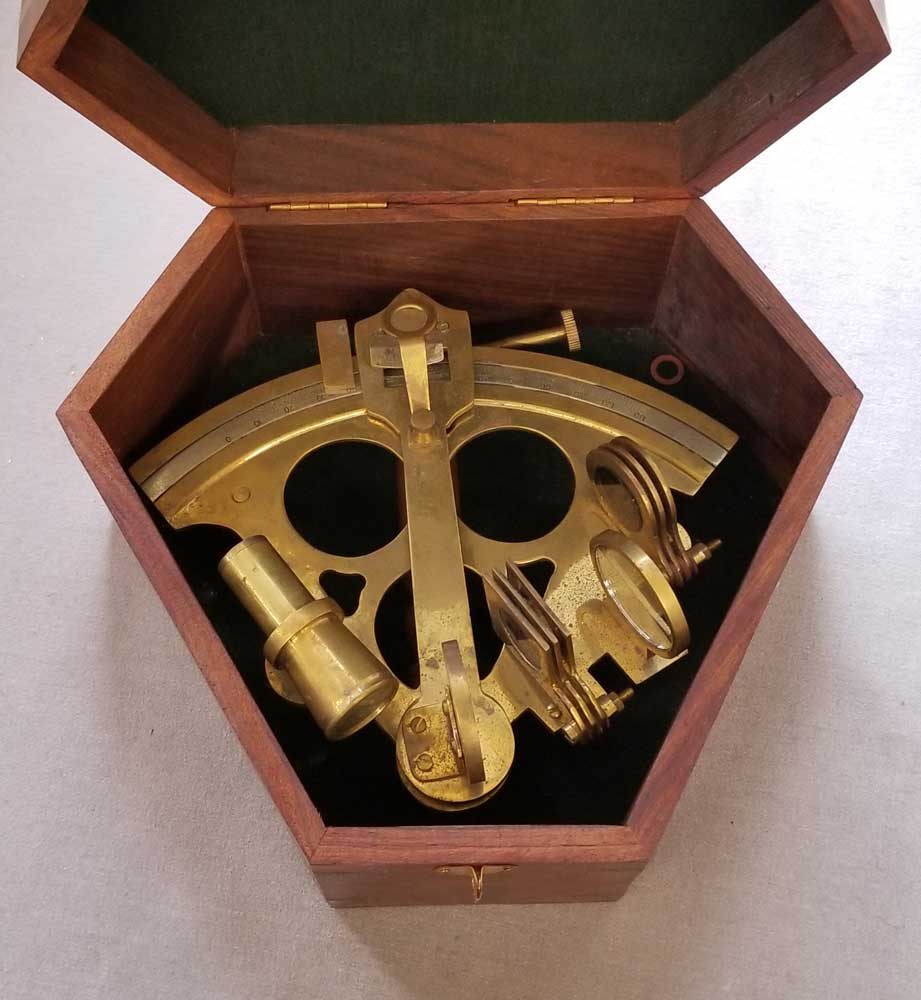 Brass Sextant in Case